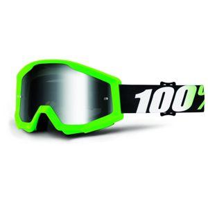 Motokrosové okuliare 100% Strata Chrome Arkon zelená, strieborné chrom plexi s čapmi pre trhačky