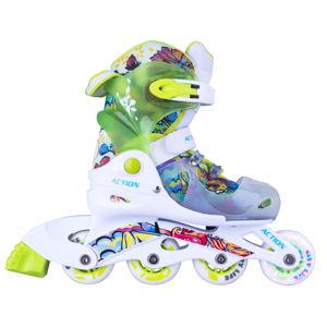 Detské nastaviteľné korčule Action Doly so svietiacimi kolieskami zelená - XS (26-29)