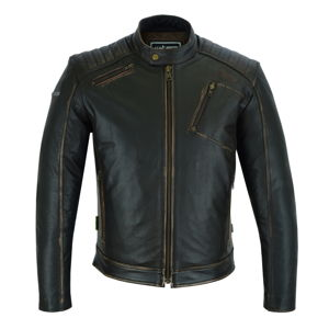 Kožená moto bunda W-TEC Embracer Vintage Dark Brown - 3XL