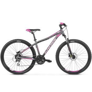 """Dámsky horský bicykel Kross Lea 5.0 27,5"""" - model 2020 grafitová/ružová/fialová - XXS (14"""") - Záruka 10 rokov"""