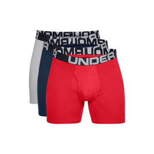 Pánské boxerky Under Armour Charged Cotton 6in 3 páry Red - M