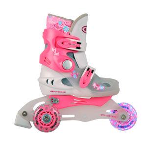 Detské kolieskové korčule WORKER TriGo Skate LED - so sv. kolieskami ružová - XS (26-29)