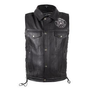 Kožená moto vesta W-TEC Highstake Black - L