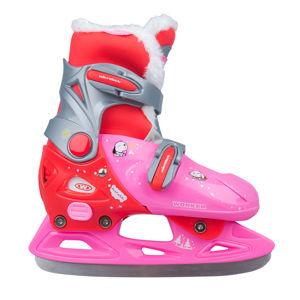 Dievčenské zimné korčule WORKER Kelly Pro Girl - s kožušinkou ružovo-červená - S (33-36)