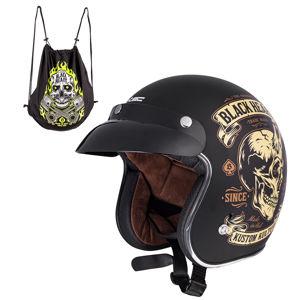 Moto prilba W-TEC Kustom Black Heart Skull Horn, matne čierna - M (57-58)