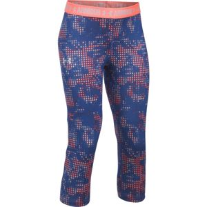 Dievčenské legíny Under Armour Printed Armour Capri Tory Blue/Mona Lisa/Twilight Grey - YXL