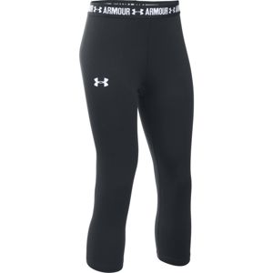 Dievčenské legíny Under Armour Armour Capri BLACK / BLACK / WHITE - YS