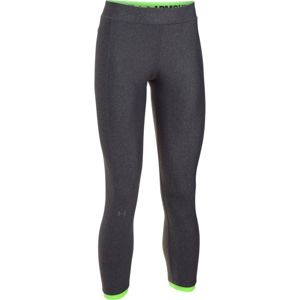 Dámske kompresné legíny Under Armour HG Armour Ankle Crop CARBON HEATHER / QUIRKY LIME / METALLIC SILVER - XL