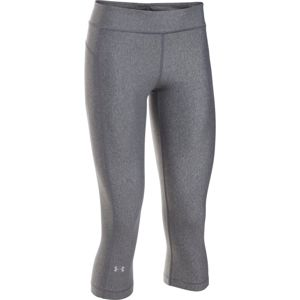 Dámske kompresné legíny Under Armour HG Armour Capri CARBON HEATHER / CARBON HEATHER / METALLIC SILVER - S