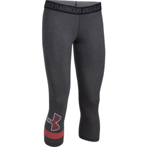 Dámske 3/4 legíny Under Armour Favorite Capri Graphic CARBON HEATHER / MARATHON RED / WHITE - S