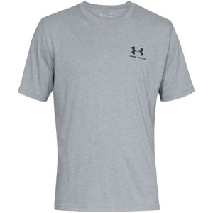 Pánske tričko Under Armour Sportstyle Left Chest SS Steel Light Heather/Black - XXL