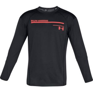Pánske bežecké tričko Under Armour Simple Run Graphic Longsleeve Black / After Burn / Reflective - L