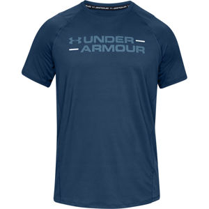 Pánske tričko Under Armour MK1 SS Wordmark Petrol Blue - XL