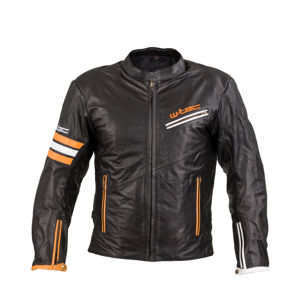 Kožená moto bunda W-TEC Brenerro Black-Orange-White - L