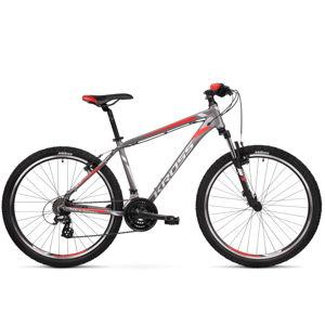 """Horský bicykel Kross Hexagon 2.0 26"""" - model 2020 grafitová/strieborná/červená - S (17'') - Záruka 10 rokov"""