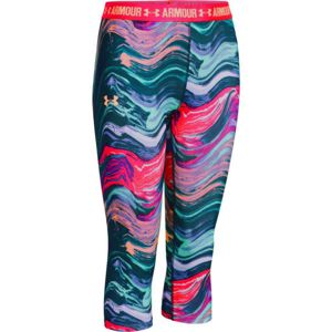 Dievčenské legíny Under Armour Printed Armour Capri Orient Fusion/Torch Red/Melon - YXL