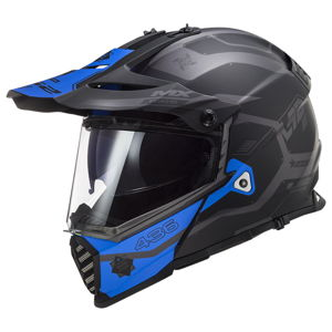 Moto prilba LS2 MX436 Pioneer Evo Cobra Matt Black Blue - 3XL (65-66)