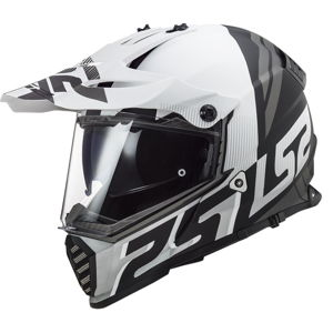 Moto prilba LS2 MX436 Pioneer Evo Evolve Matt White Black - 3XL (65-66)
