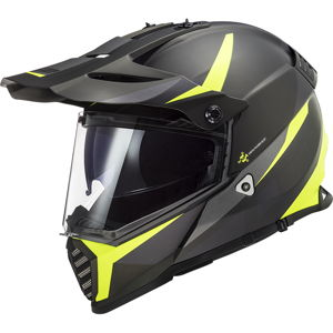 Moto prilba LS2 MX436 Pioneer Evo Router Matt Black H-V Yellow - 3XL (65-66)