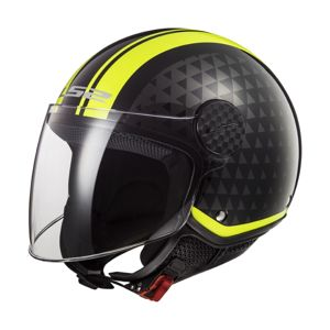Moto prilba LS2 OF558 Sphere Lux Crush Black H-V Yellow - S (55-56)