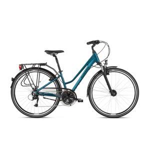 """Dámsky  trekingový bicykel Kross Trans 4.0 28"""" - model 2021 tyrkysová/čierna - L (19"""") - Záruka 10 rokov"""